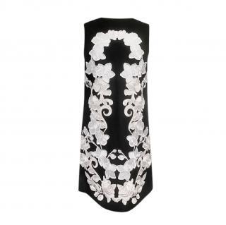 Dolce & Gabbana Black Lace Embroidered Sleeveless Shift Dress