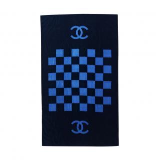 Chanel Blue Two-Tone Cotton Terry Beach Towel 100 cm x 165 cm