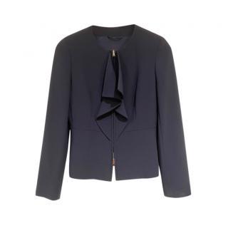 MaxMara Blue Zip Front Peplum Jacket