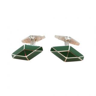 William & Son Sterling Silver Green Enamel Cufflinks