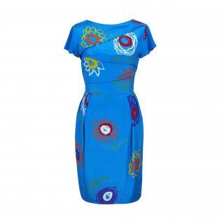 Lanvin Blue Vintage Silk Printed Dress