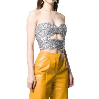 Attico Silver Sequin Embellished Cut-Out Bandeau Top