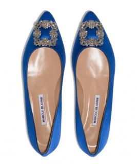 Manolo Blahnik Blue Satin Hangisi Ballerinas