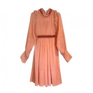 Chloe Pleated Coral Embroidered Dress