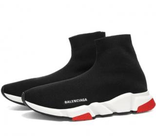 Balenciaga Black & Red Speed Sneakers