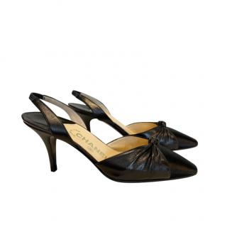 Chanel Black Leather & Satin Knotted Slingback Sandals