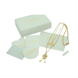 Chloe Gold Tone Double Strand Evil Eye 2-in-1 Necklace