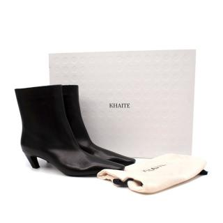 Khaite Arizona Black Leather Ankle Boots