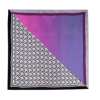 Jimmy Choo Ash Fuchsia Purple Printed Silk-Twill Foulard