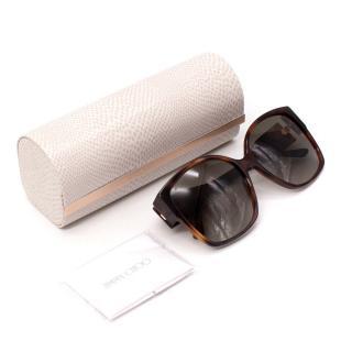 Jimmy Choo Noemi Dark Havana Square-Frame Sunglasses