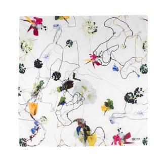 Boss Hugo Boss White Graphic Floral Print Silk Scarf
