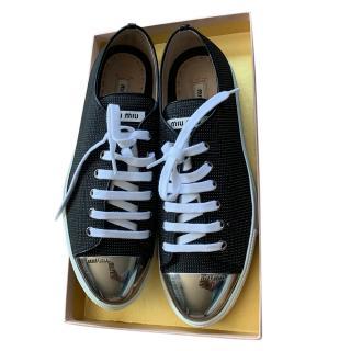 Miu MIu Black Cap-Toe Low Top Sneakers