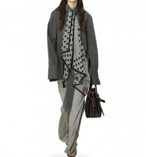 Loewe Runway Black & White Checkered Logo Patch Flared Trousers