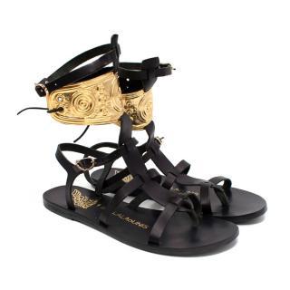 Ancient Greek X Ilias Lalaounis Black Rhodes Sandals