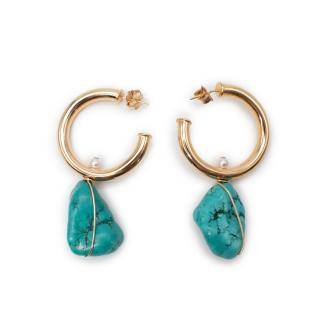 Anna Beck Turquoise & Pearl Drop 14ct Gold Filled Hoop Earrings