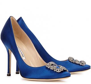 Manolo Blahnik Hangisi 105 royal blue silk-satin pumps