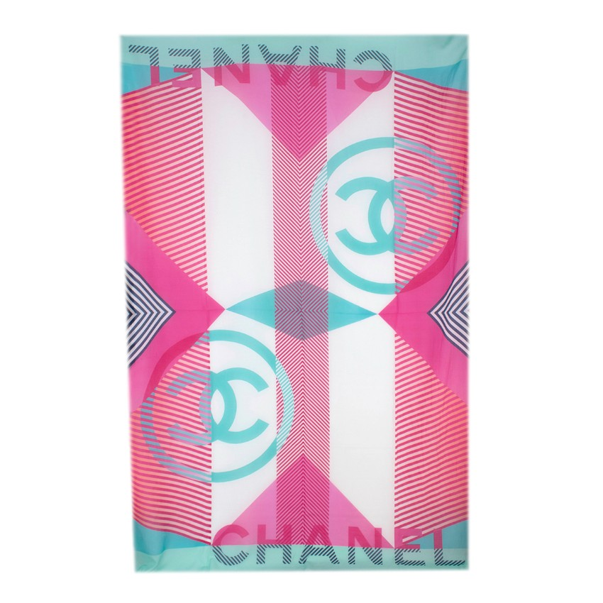 Chanel Turquoise & Pink Silk Blend Striped CC Pareo