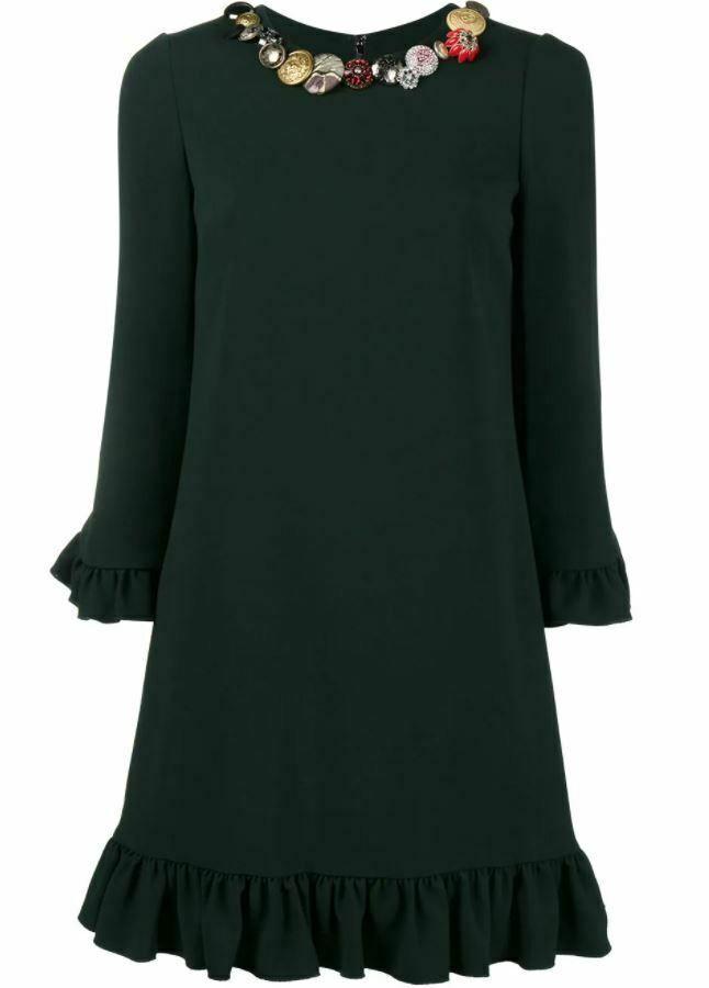 Dolce & Gabbana Green Embellished Ruffle Hem Dress