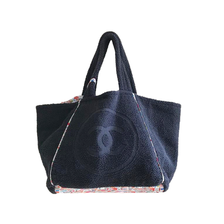 Chanel Printed Cotton & Cotton Terry Beach Tote Bag