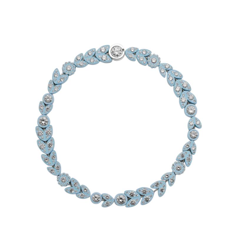 Bottega Veneta Pastel Blue Crystal Embellished Necklace - New Season