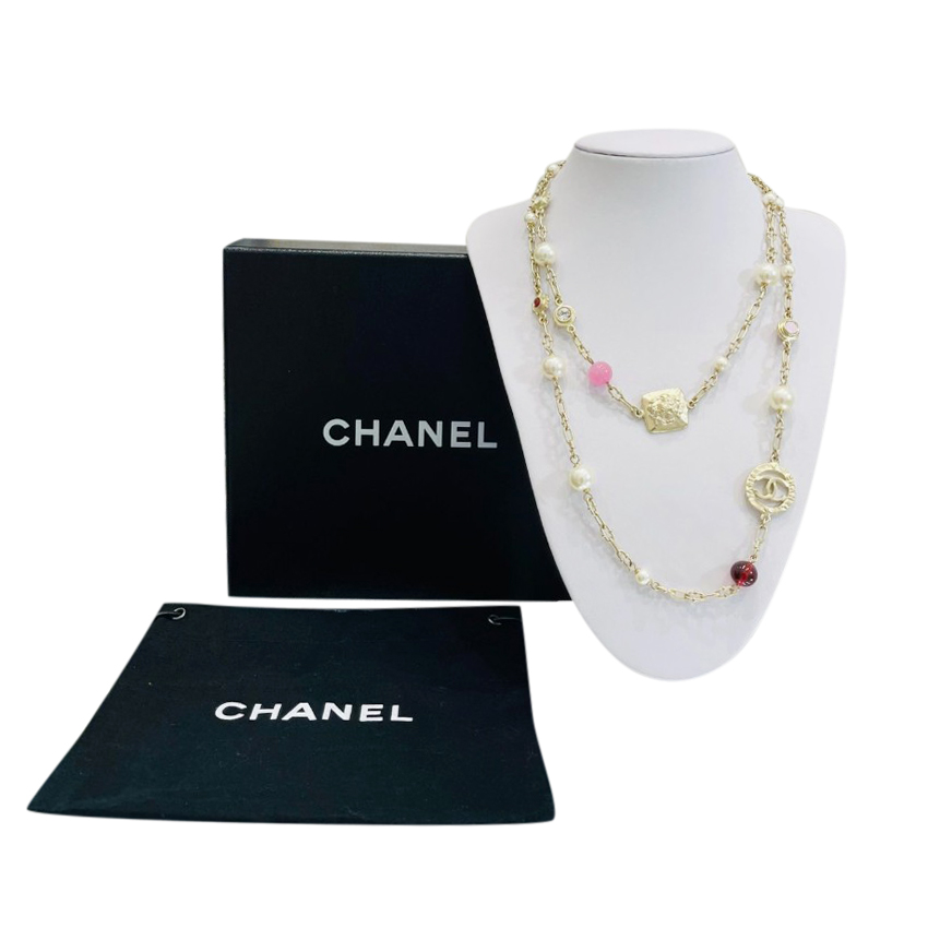 Chanel Faux Pearl CC Charm Chain Necklace