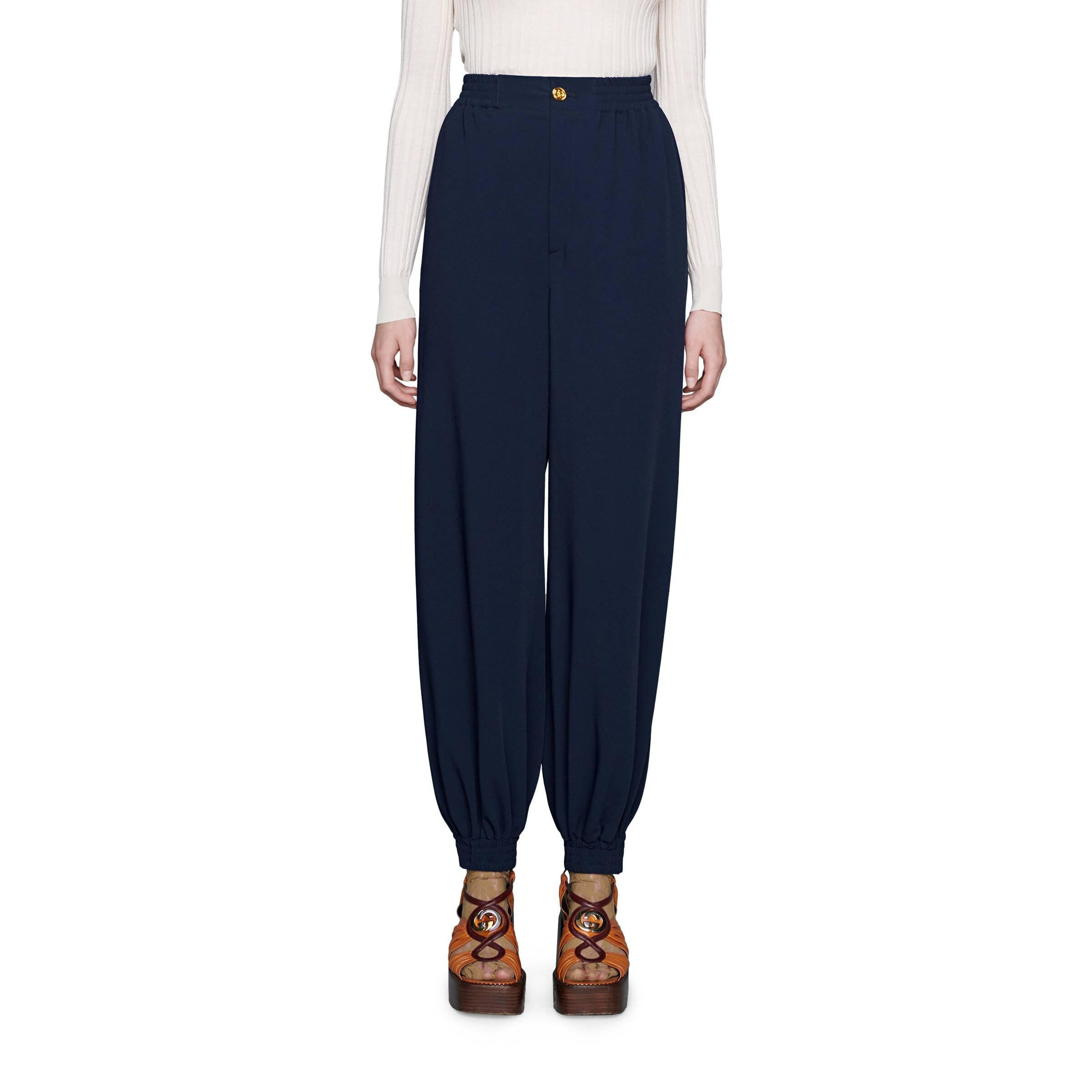 Gucci Blue Cady Harem Pants