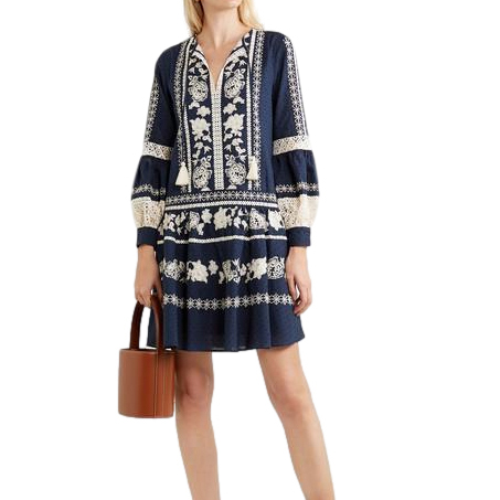 Tory Burch Boho Crochet-trim Embroidered Swiss-dot Cotton Dress