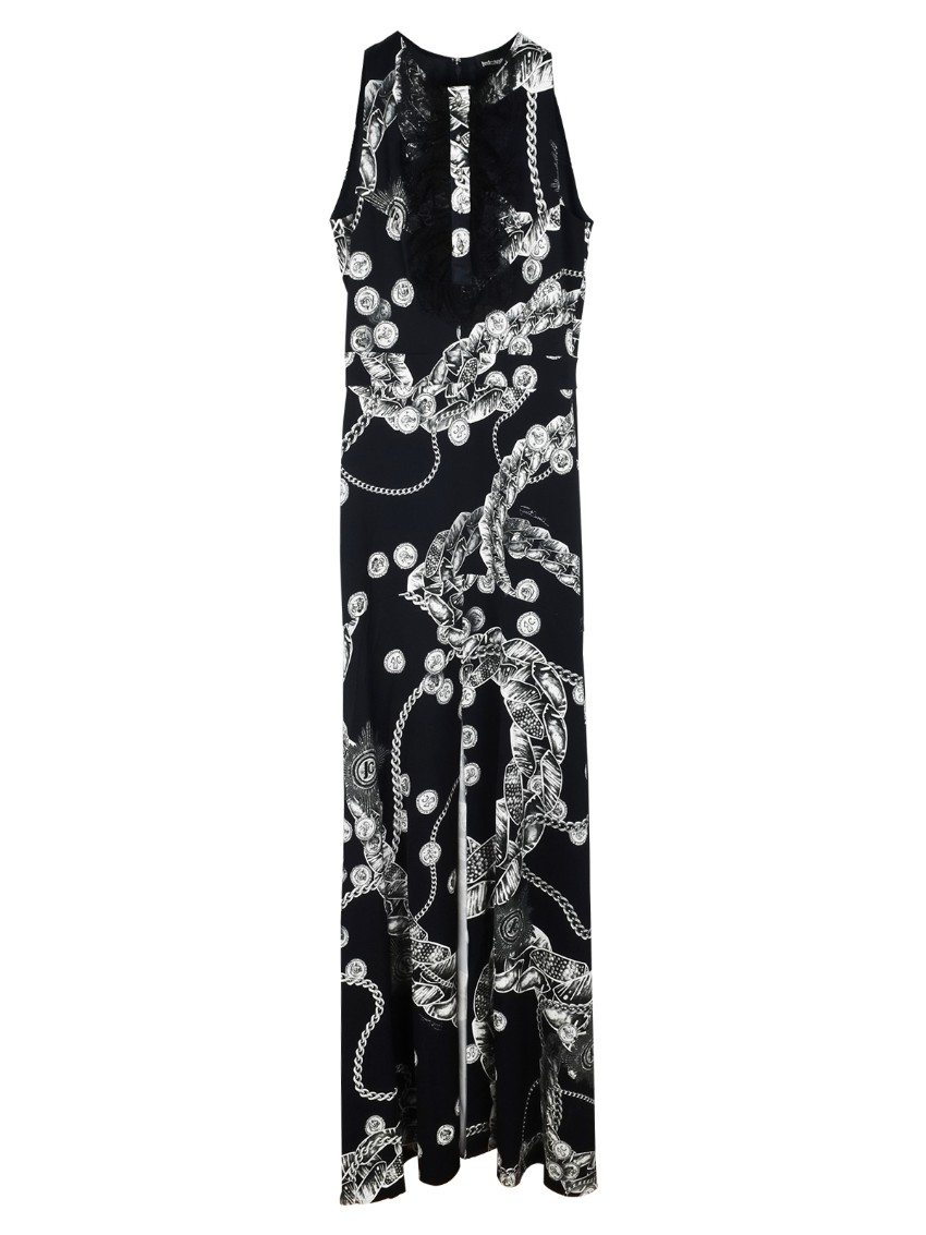 Just Cavalli Black Crystal Embellished Sleeveless Gown