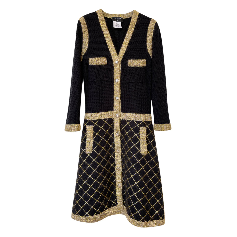 Chanel Coco Brasserie Black & Gold Cardigan Dress