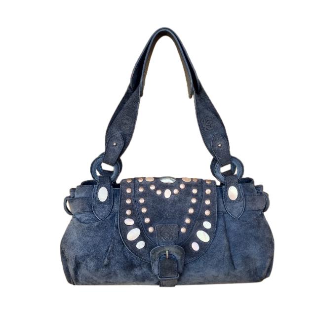 Loewe Blue Suede Embellished Shoulder Bag