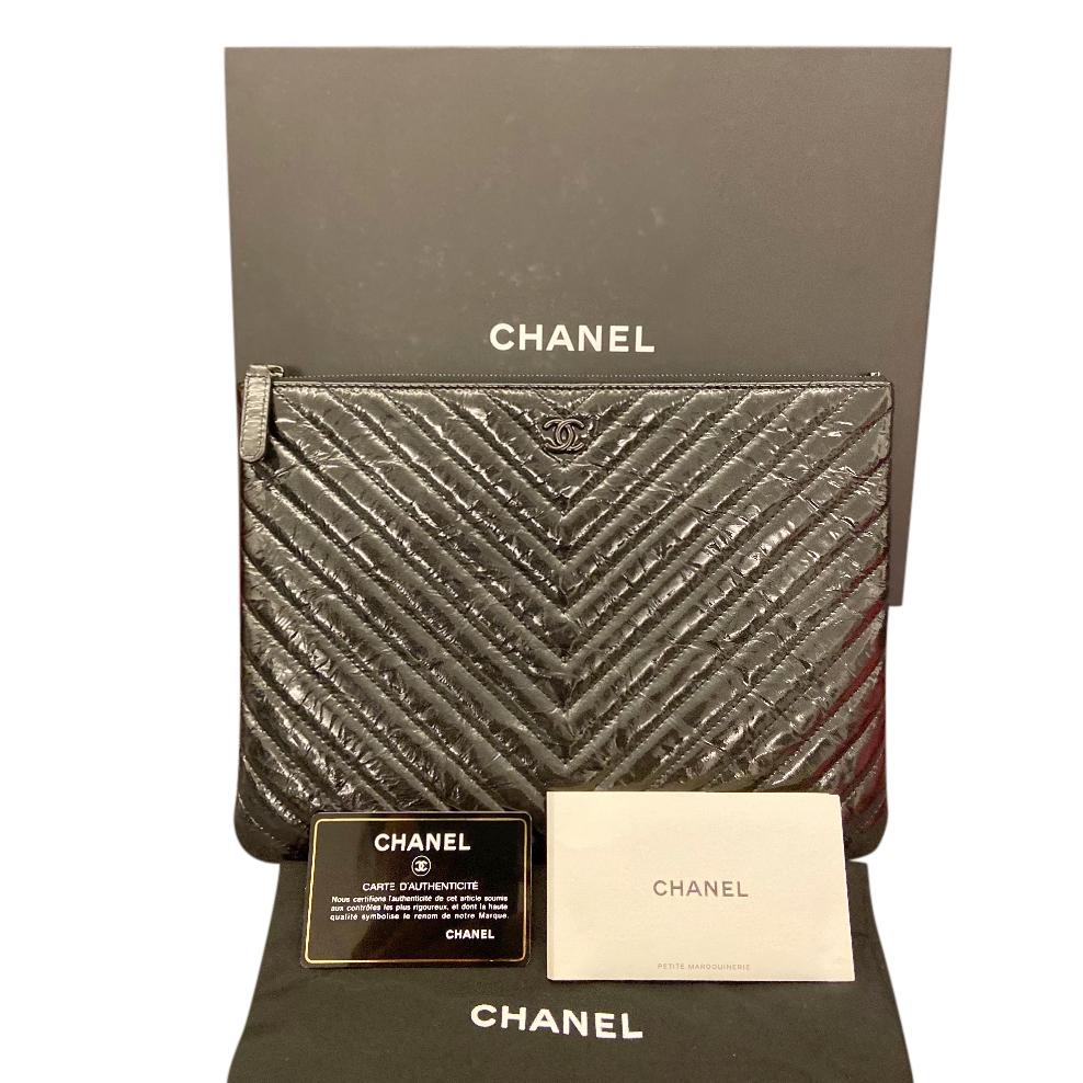 Chanel Black Patent Aged Calfskin Chevron Pouch