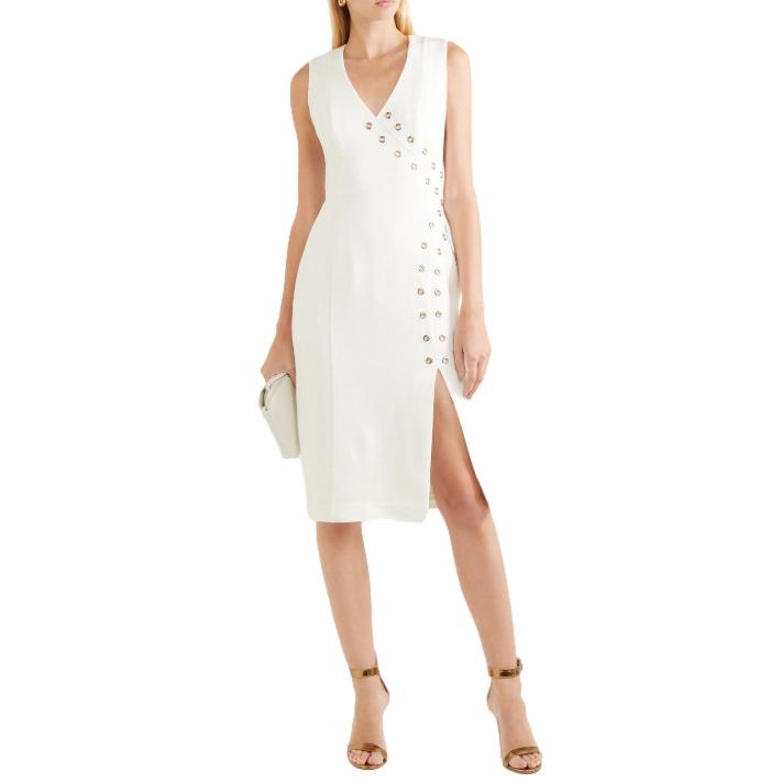 Rebecca Vallance Off White Adriatic eyelet-embellished crepe dress