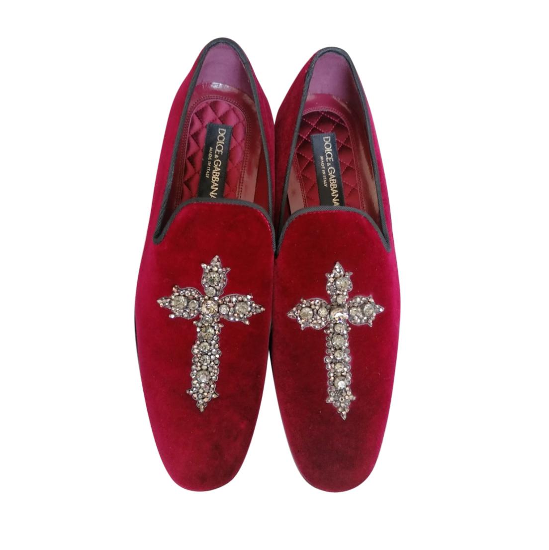 Dolce & Gabbana Burgundy Crystal Embellished Loafers