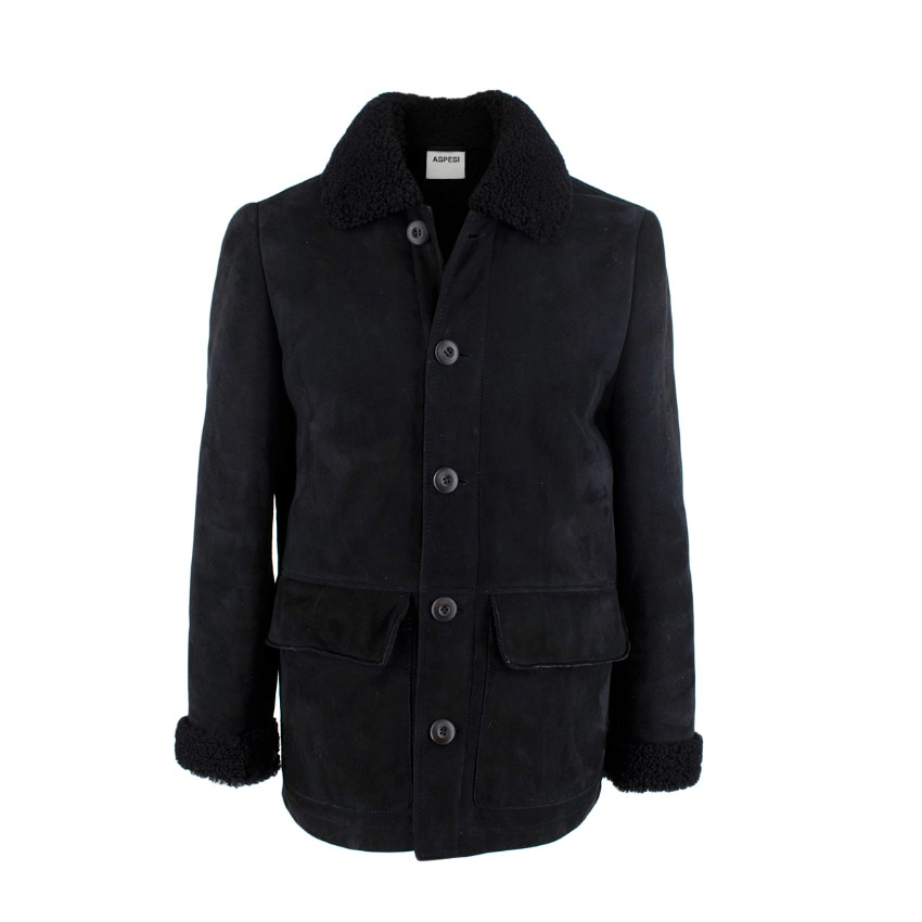 Aspesi Midnight Blue Suede Shearling Jacket