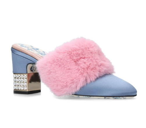 Gucci Blue & Pink Mink Candy Mules 75