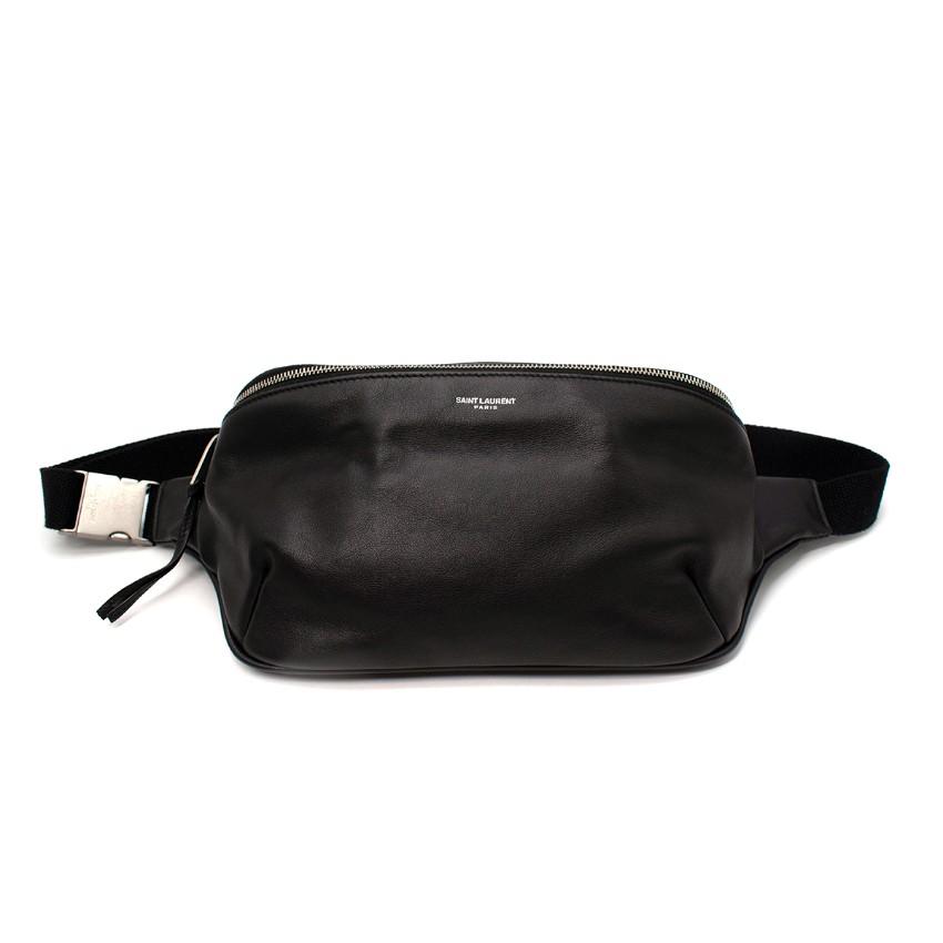 Saint Laurent Black Leather Logo Print Belt Bag