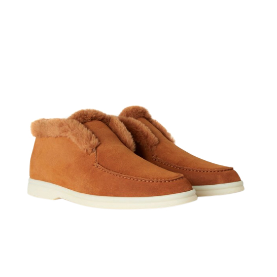 Loro Piana Camel Fur Lined Suede Open Walk Ankle Boots