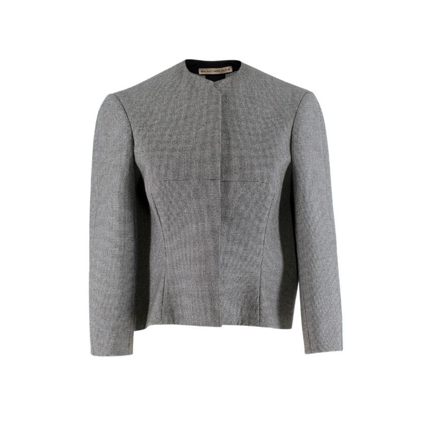 Balenciaga Wool Houndstooth Structured Crop Jacket