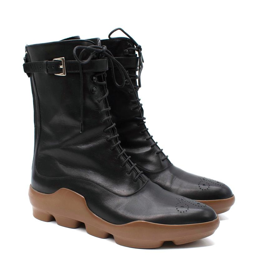 Prada Black Zip Up Brogue Style Platform Boots