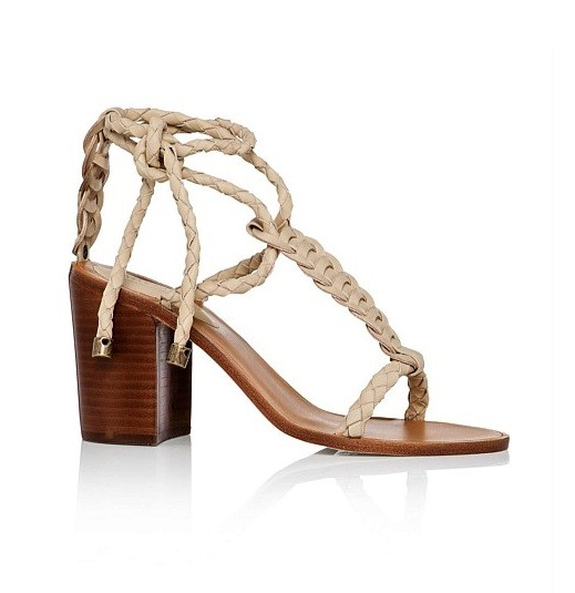 Zimmermann Woven Leather Beige Tie Heel Link Sandals