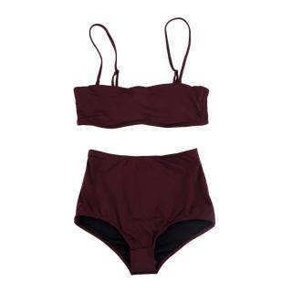 Prism Burgundy High-Waisted Bikini