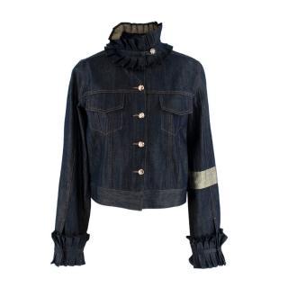 Rich Fashion Navy Golden Ruffled Denim Jacket