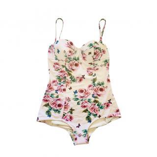 Dolce & Gabbana Ivory Rose Print Balconette Swimsuit