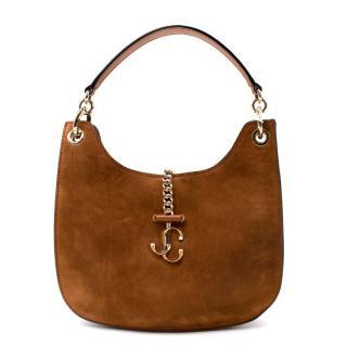 Jimmy Choo Varenne Logo Plaque Brown Suede Shoulder Bag