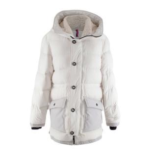 Moncler Kids 14Y White Faux Fur Trim Down Coat