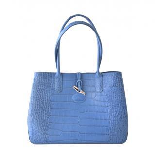 Longchamp Blue Mist Mock Croc Tote Bag