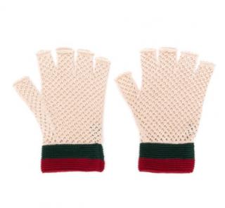 Gucci Beige Knit Fingerless Gloves - Size M