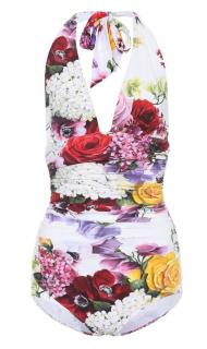 Dolce & Gabbana White Floral Print Halterneck Swimsuit