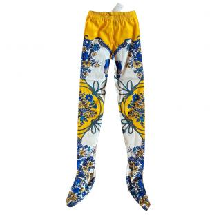 Gucci Yellow, White & Blue Silk Floral Tights