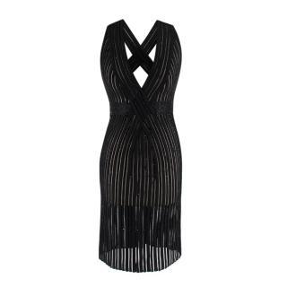 Zuhair Murad Black Embellished Stretch Silk Sheer Panelled Mini Dress